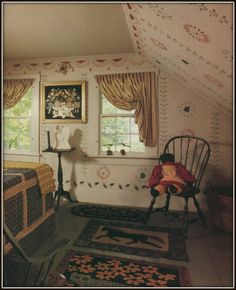 Bedroom ~ Hooked Rugs, Stenciled Walls, Framed Painted Paper Snippet!