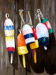Do these make you want to wiggle your toes in the sand? Colorful lobster buoys make a nice garden accent for a beachy feel all year round.