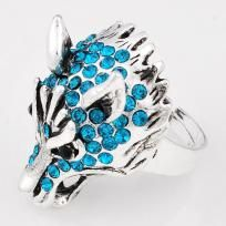 Teal wolf head ring