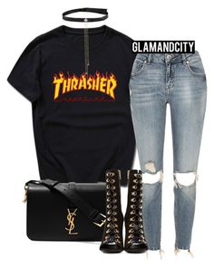 """""""Untitled #534"""" by glamandcity ❤ liked on Polyvore featuring River Island, Yves Saint Laurent and Balmain"""