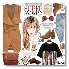 """SheIn Brown Colour Outfit"" by lillili25 ❤ liked on Polyvore featuring Anja, MANGO, Wrap, Moschino, Topshop, Sheinside, polyvoreeditorial and shein"