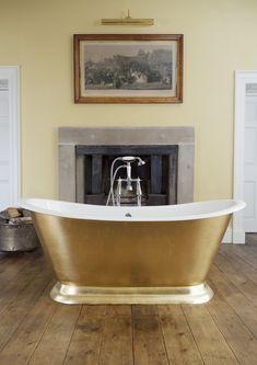 Deeply luxurious, the Galleon adorned with hand applied gold leaf gilding.  #bathtubs #baths #bathrooms #luxurybathrooms #bespoke baths #interiordesign #bathroomdesign #gilding #copperleaf #goldleaf #luxurybathrooms Gold Bathroom, Bathroom Interior, Bathroom Ideas, Freestanding Taps, Cast Iron Bath, Copper Bath, Farrow And Ball Paint, Roll Top Bath, Stone Tiles