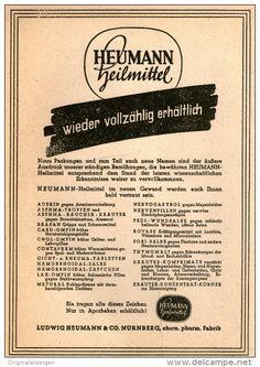 Original-Werbung/Inserat/ Anzeige 1948 - 1/1 SEITE: HEUMANN/ ARZNEIMITTEL NÜRNBERG - ca. 130 X 190 mm