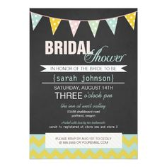 Chalkboard and Bunting Flags Rustic Bridal Shower Card
