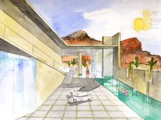 Planar House in Paradise Valley, Arizona, 2005 Steven Holl Architecture, Architecture Drawings, Architecture Plan, Sketch Free, Hand Sketch, Residential Architect, Architect Design, Different Drawing Styles, Model Sketch