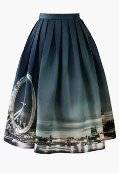 Night Skyline of London Print Midi Skirt - Skirt - Bottoms - Retro, Indie and Unique Fashion
