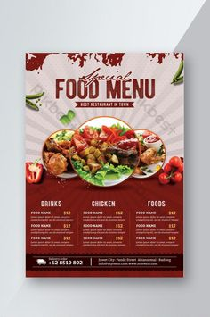 Restaurant Bistro, Restaurant Flyer, Restaurant Menu Design, Menu Card Design, Food Menu Design, Food Poster Design, Flyer Design Inspiration, Logo Pizzeria, Food Truck