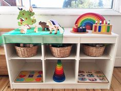 Montessori shelves at 18 months