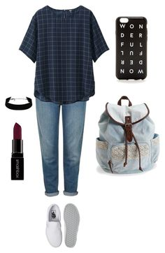 """""""casual"""" by rose-wilya ❤ liked on Polyvore featuring mode, Topshop, Uniqlo, Vans, Aéropostale, J.Crew, Smashbox et casual"""