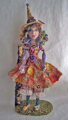 "Cloth Art Doll ""Summer Witch"" by Stephanie Novatski"