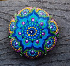 Painted River Stone Blue beauty by ArtByEvaMarie on Etsy