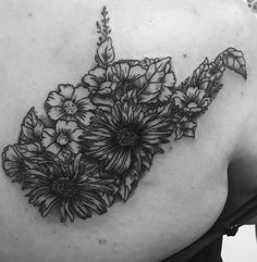 Floral West Virginia - My artist drew this up for me from two other tattoos I wanted and couldn't decide which one i wanted so I combined them both together! Body Art Tattoos, Girl Tattoos, Tattoos For Women, Sleeve Tattoos, Tattoo Women, Tatoos, Cover Tattoo, Get A Tattoo, West Virginia Tattoo