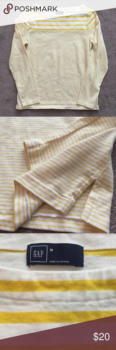GAP Yellow & White Striped Top GAP Yellow & White Striped Top. Long sleeves. Heavy material. Size medium. Excellent condition. Reasonable offers and bundles welcome! GAP Tops Blouses
