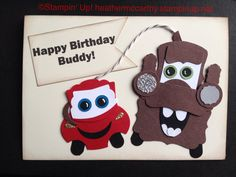 punch art Mater and Lightning McQueen, for instructions check out my website Happy Birthday Buddy, Birthday Cards For Boys, Bday Cards, Birthday Kids, Paper Punch Art, Punch Art Cards, Scrapbook Cards, Scrapbooking, Card Tutorials