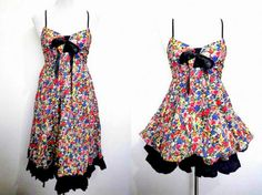 floral two way dress (small), knee length sundress, mini bubble dress by VintageHomage
