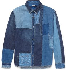 KAPITAL Katmandu Slim-Fit Patchwork Denim Shirt | KAPITAL takes its name from Kojima, Okayama, an area known as Japan's 'Denim Capital'. The label reimagines mid-century Americana using heritage production techniques to create designs with an authentic workwear feel. | Founded in 1984 | made in Japan