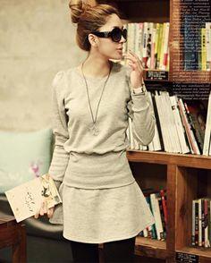 Korean Fashion Nip Waisted Long Sleeve Casual Tracksuits Tracksuits from stylishplus.com