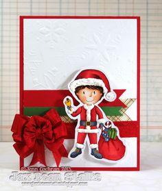 Really Reasonable Ribbon's Ramblings!: One More Christmas Card by Jenn Cochran Santa's Little Helper, Christmas Cards, Christmas Ornaments, Pretty Cards, Holiday Festival, Elf On The Shelf, My Design, Scrap, Doodles