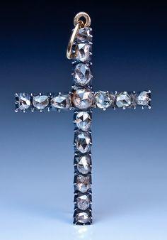 Antique Rose Cut Diamond Jewelry | Georgian Diamond Cross