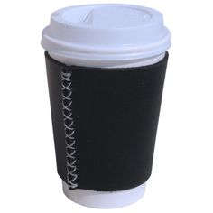 Coffee Cup Leather Sleeve Cozy - Black