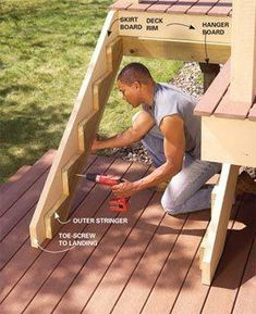 Attaching Deck Stringers To Rim Joist - Carpentry - DIY Chatroom - DIY Home . - diy home improvement Attaching Deck Stringers To Rim Joist – Carpentry – DIY Chatroom – DIY Home Wood Projects, Woodworking Projects, Woodworking Plans, Japanese Woodworking, Woodworking Furniture, Woodworking Shop, Deck Steps, How To Build Porch Steps, How To Make Stairs