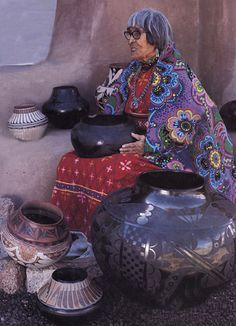 "Polychrome and ""Black on Black"" pots by Maria Martinez. All are hand-built from locally found clay, then pit-fired with wood and dried animal dung."