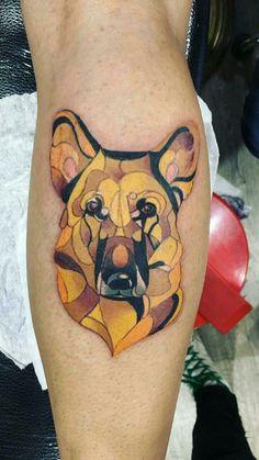 Tatto wolf, German Shepherd, curves, geometric