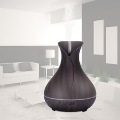 Strong-Willed 400ml Wood Grain Vase Style Essential Oil Diffuser Ultrasonic Cool Mist Humidifier With Led Lights uk Plug Bracing Up The Whole System And Strengthening It Interior Accessories