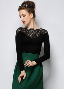 Black Long Sleeve Contrast Lace Collar T-Shirt $MXN235.62