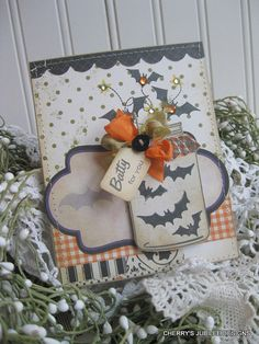 vintage style HALLOWEEN mason jar full of BATS BATTY for you stitched handmade card