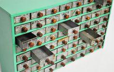 Industrial Parts Cabinet Mint Green Storage door thewhitepepper