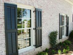 Curious about our Louvered Exterior Shutters?? ▶Perfect for Traditional, Cape Cod, Plantation, Victorian, French Provincial, or Farmhouse style ▶Architecture Available with Arched Tops ▶Crafted in 100% Endurance Aluminum ▶Louvers will never Deteriorate and Fall Out ▶Wide Plantation Louvers or Narrow Traditional Louvers ▶Option of Faux Control Rod down center of Louvers or None Www.palmettowindowfashions.com