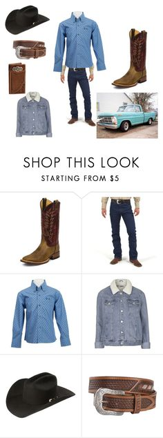 """""""Cowboy UP"""" by misschickadee2011 on Polyvore featuring Justin Boots, Wrangler, Topshop, Laredo, men's fashion and menswear"""