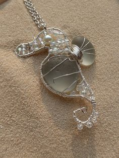 Large wire wrapped gray sea glass seahorse by atreasurefromthesea, $89.99