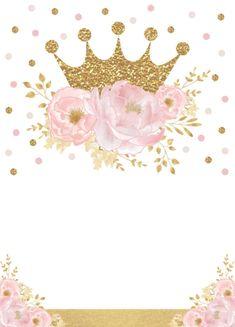 Shop Pretty Princess Gold Crown Pink Floral Baby Shower Invitation created by BlueBunnyStudio. Girl First Birthday, Baby Birthday, Invitation Floral, Shower Invitation, Invitation Cards, Pink Und Gold, Gold Gold, Girl Birthday Decorations, Baby Shower Invitaciones