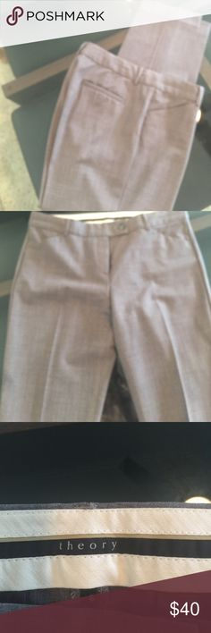 Theory Gray Tapered Slacks Beautiful tapered leg, gray, great material, no wrinkles, hugs under the belly button, pockets.  Love these, but everything must go!  Size 6. Priced to sell. Theory Pants