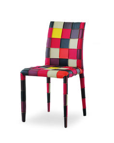 AIRNOVA Brit P2 - side chair with Patchwork design using exposed stitching.  Available in either exposed stitching / seams for a more rustic appearance, or concealed stitching for a smooth look.   The genuine leather squares are sewn together by hand and the client can select from an overall bright color scheme or a darker color scheme. #HPmkt 220 Elm #301
