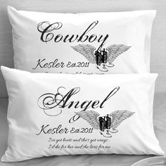 Cowboys and Angels Personalized Pillowcases Boots and Wings
