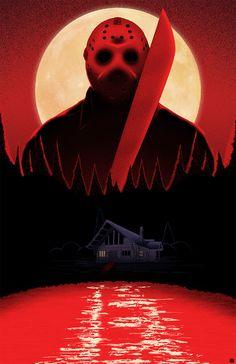 Horror Movie Poster Art : Friday The 1980 Slasher Movies, Horror Movie Characters, Horror Movies, Horror Villains, Horror Posters, Horror Icons, Jason Voorhees, Arte Horror, Horror Art