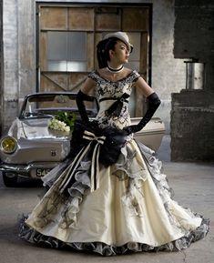 Wedding Dress Fantasy - Yellow Wedding Dress (minus the bow) Steampunk Couture, Style Steampunk, Victorian Steampunk, Steampunk Clothing, Steampunk Fashion, Steampunk Wedding Dress, Gothic Wedding, Steampunk Dress, Victorian Wedding Themes