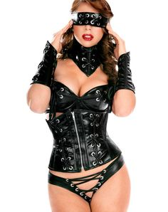 Sexy Lingerie Daring Wetlook Faux Leather Clubwear 6 Pcs L6516 Sexy Gifts Valentine's Day Wife Honeymoon