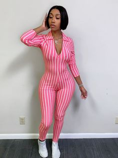 Sexy Deep V Bodysuit Tracksuit Rompers Slim Womens Jumpsuit Long Sleeve Skinny Print Striped Casual Turn Down Collar Overalls Black Girl Fashion, Pink Fashion, Cute Fashion, Womens Fashion, Rompers Women, Jumpsuits For Women, Fashion Jumpsuits, Dope Outfits, Fashion Outfits