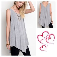 Large Sleeveless Top Last 1 Great Spring summer top. Material content is a cotton blend.  Size is a woman's Large (10-12).  Color is Gray.  No trades  Thank you for looking Happy Poshing Tops