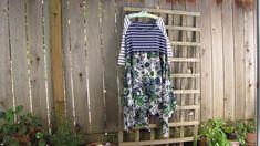 Asymmetrical Funky Retro Lagenlook Tunic Dress/Upcycled Eco Babydoll Dress…
