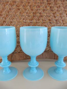 SET of 4 French Blue Opaline Portieux Vallerysthal Goblets from billysbungalow on Etsy