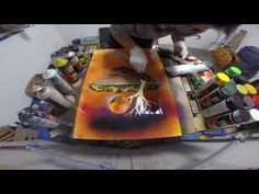 SPRAYPAINTING SPACEPAINTING DREAMCATCHER by sliwamaluje - YouTube