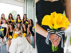 yellow calla bouquet with striped navy ribbon // photo by http://spindlephotography.com