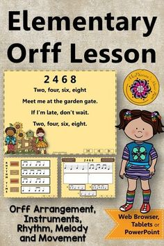 Fun elementary music lesson plan and Orff arrangement for 2 4 6 8. The interactive visuals and instrument rotation activities are perfect for your first, second or third graders while addressing eighth notes, so mi la! #musiced #musiceducation #McPhersonsMusicRoom #musictpt #orff #kodaly