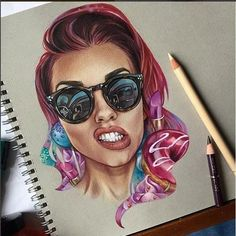 Beautiful woman color pencil drawing by bokkei http://webneel.com/25-beautiful-color-pencil-drawings-valentina-zou-and-drawing-tips-beginners   Design Inspiration http://webneel.com   Follow us www.pinterest.com/webneel