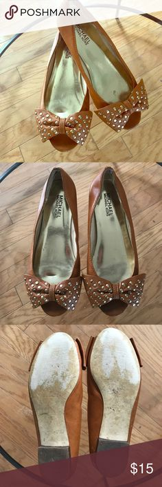 Michael Kors Leather Studded Flat Peep toe flat with gold metal studs on bow. Michael Kors Shoes Flats & Loafers